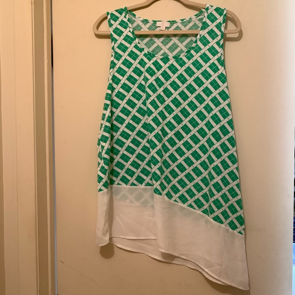 Charming Charlie Tops - Charming Charlie | Green and White Sleeveless Top